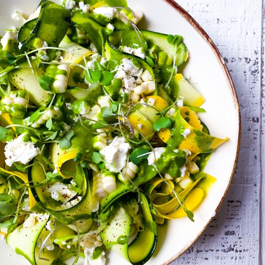 Zucchini and Yellow Squash Salad with Sweet Corn and Feta