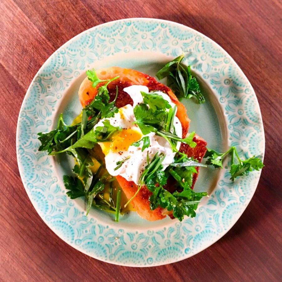 Poached Eggs with Fried Bread and Herbs