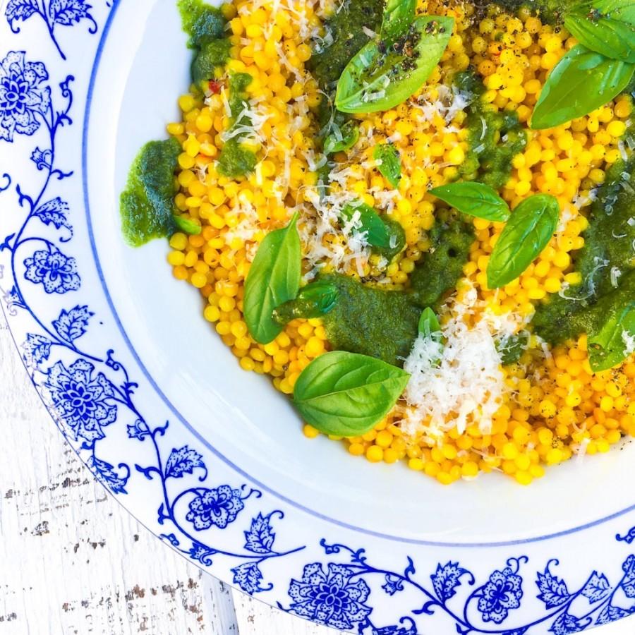 Saffron Couscous with Almond Pesto
