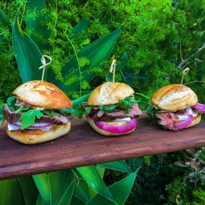 Grilled Flank Steak Sandwiches with Grilled Onions and Brie