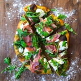 Pesto Pizza with Burrata, Prosciutto and Arugula