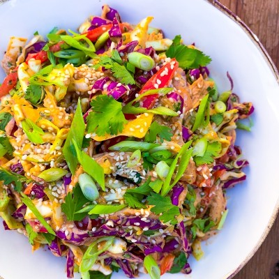 Shredded Chicken Salad with Cabbage, Bell Pepper and Cilantro