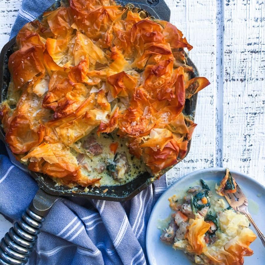 Chicken, Sweet Potato and Swiss Chard Phyllo Pot Pie