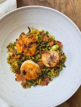 Bacon and Brussels Sprout Hash with Seared Scallops