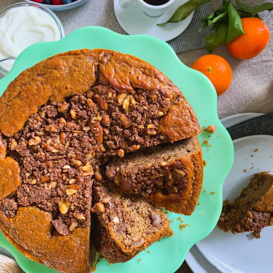 Gluten-Free Coffee Cake with Walnut Streusel Topping