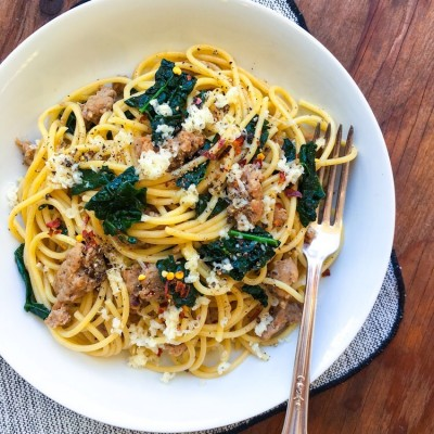 Sweet Italian Sausage and Spicy Kale Pasta