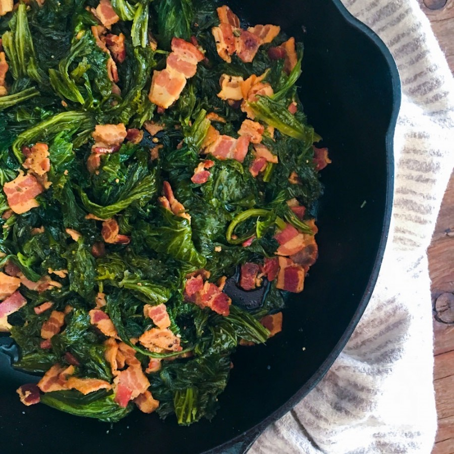 Braised Mustard Greens with Rosemary and Bacon