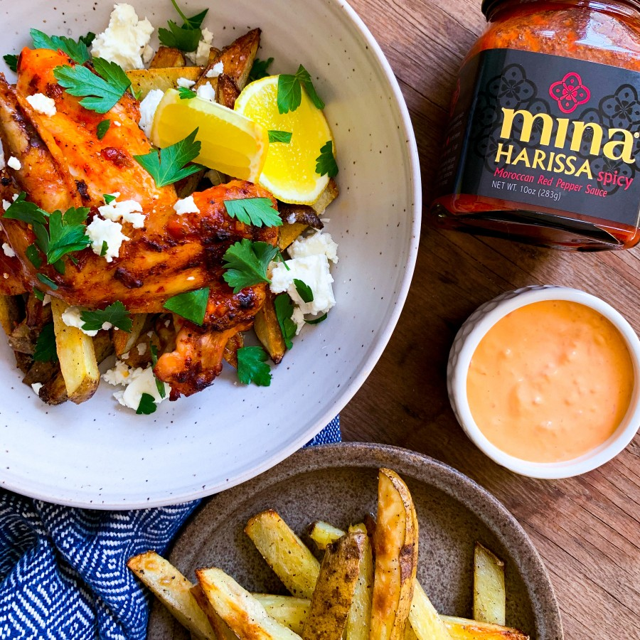 Harissa Spiced Roast Chicken with Oven Fries