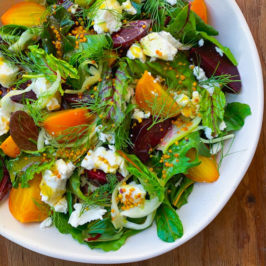 Roasted Beet Salad with Goat Cheese, Pickled Fennel and Bee Pollen