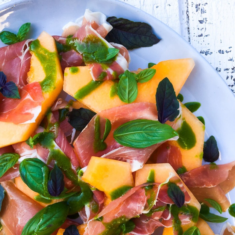 Melon and Prosciutto Salad with Basil Chive Oil