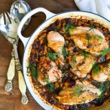 One Pan Roast Chicken with Sun-dried Tomatoes, Fennel and White Beans