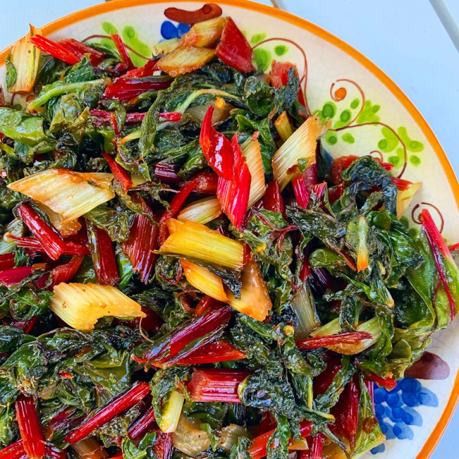 Spicy Sautèed Swiss and Rainbow Chard