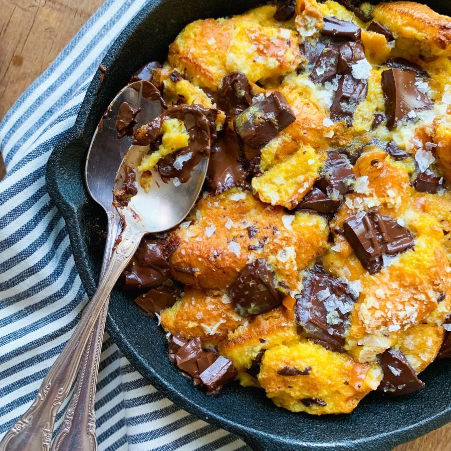 Brioche Buttermilk Bread Pudding with Dark Chocolate for Two