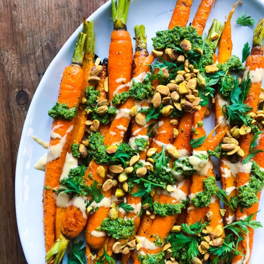 Roasted Carrots with Tahini and Carrot-Top Pesto