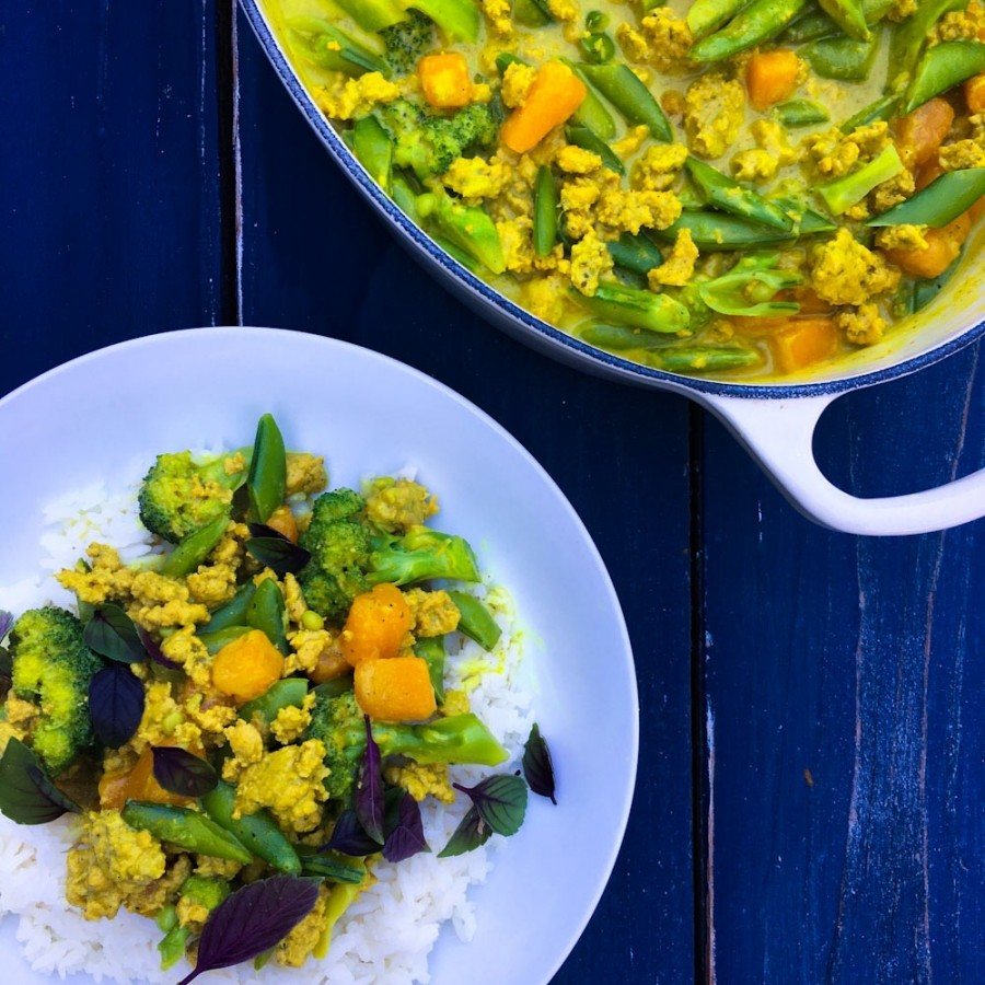 Coconut Curry with Ground Turkey, Butternut Squash and Snap Peas