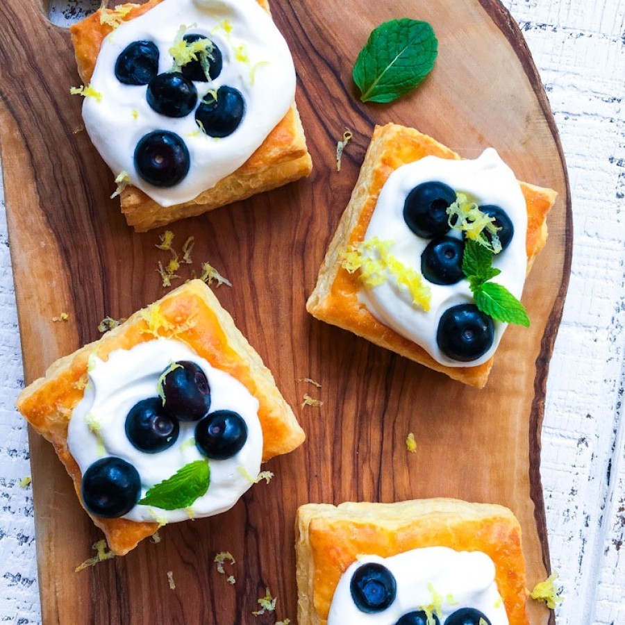 Blueberry Tarts with a Lemon Yogurt Whipped Topping