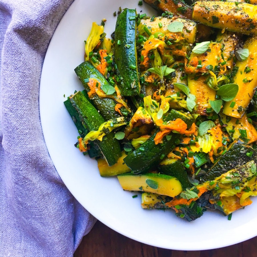 Sautéed Zucchini and Blossoms with Fresh Herbs
