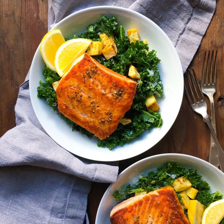 Seared Salmon with Roasted Sweet Potatoes and Kale Salad for Two