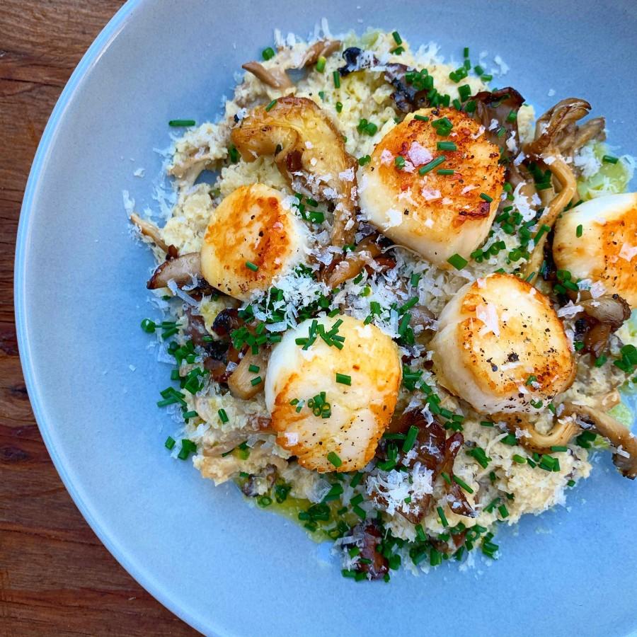 Cauliflower Mushroom Risotto with Seared Scallops