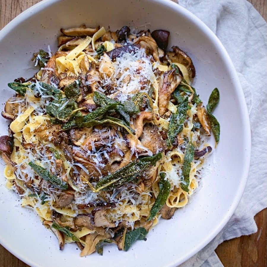 Wild Mushroom Pasta with Brown Butter, Parmesan and Sage