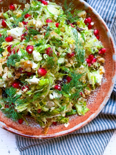 Shaved Brussels Sprout Salad with Feta, Dried Cherries and Walnuts