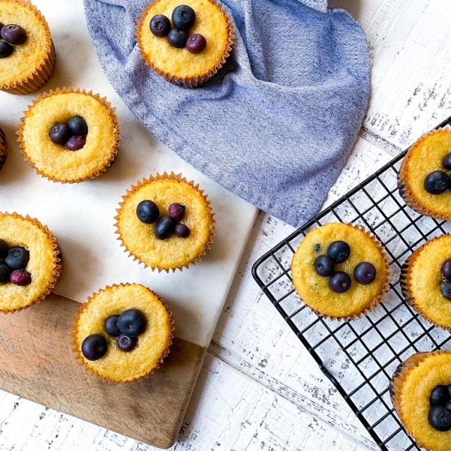 Gluten-Free Blueberry Muffins with Honey, Almond and Yogurt