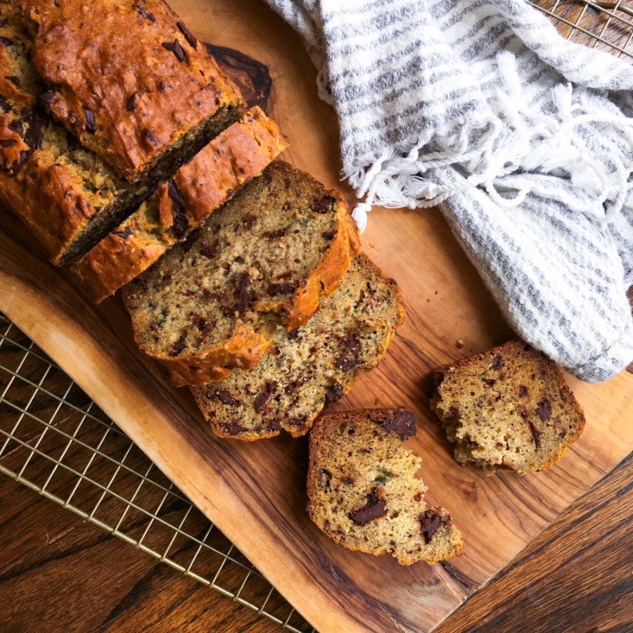 Gluten Free Banana Bread with Chocolate Chunks