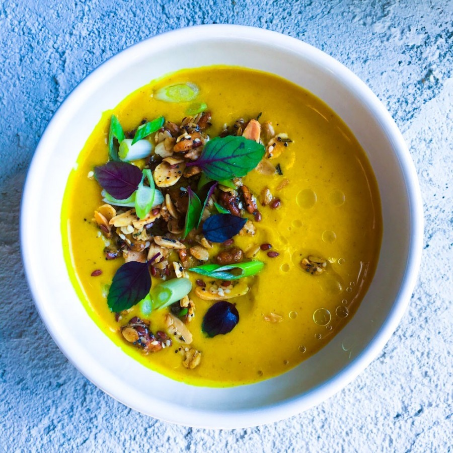Roasted Butternut Squash Soup with Savory Granola