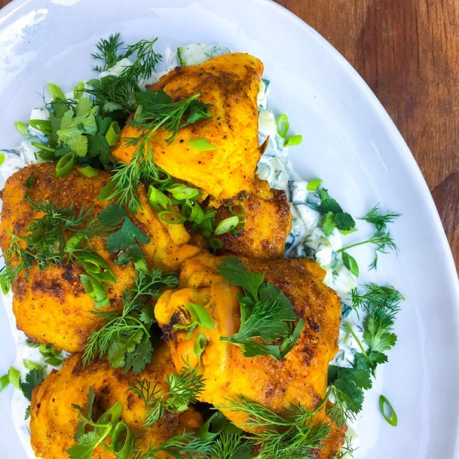 Turmeric Spiced Roast Chicken with Yogurt