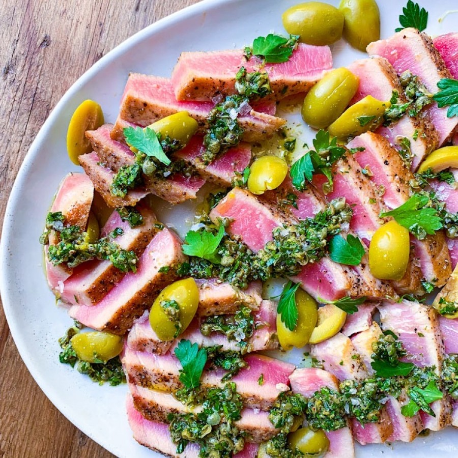 Seared Tuna with an Olive, Caper Herb Sauce