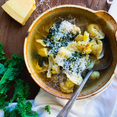 Cheese Tortellini and Kale Soup with Roasted Cauliflower