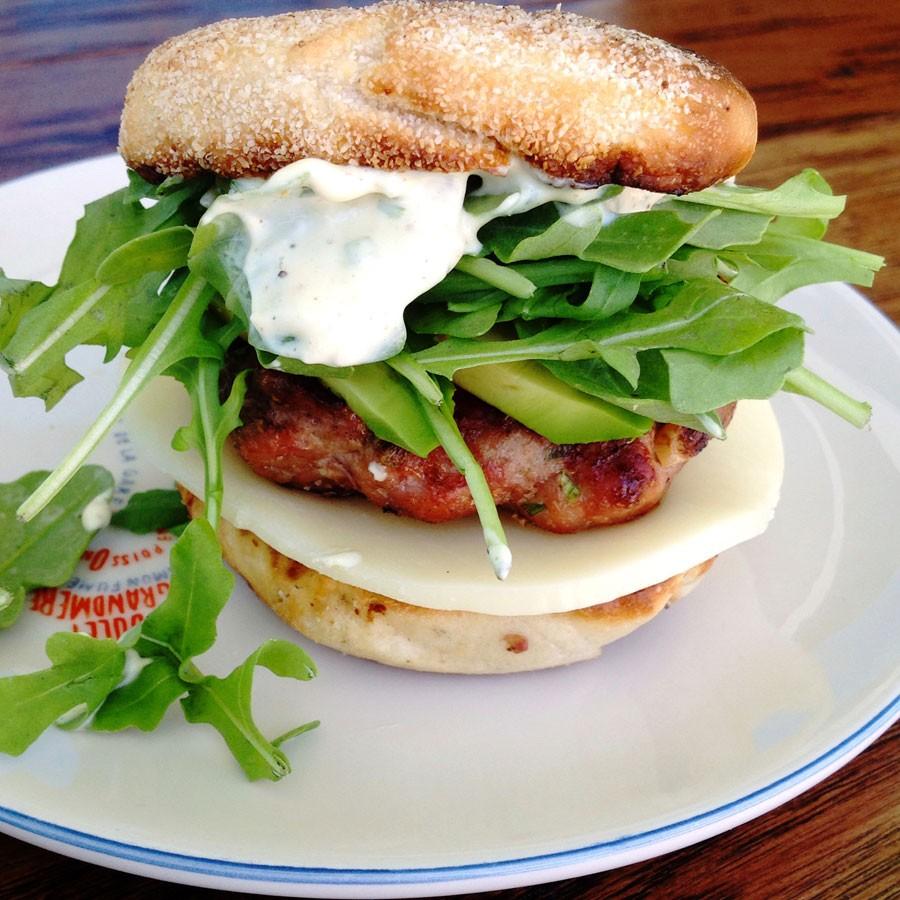 Turkey Burgers with Whole Grain Mustard & Chive Mayo