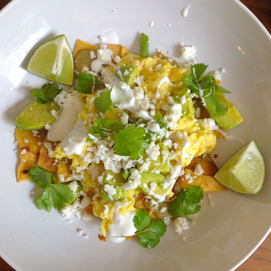 Grilled Chilaquiles with Grilled Eggs