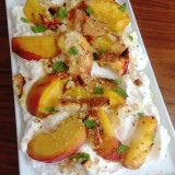 Grilled Stone Fruit with Grilled Biscotti and Whipped Cream