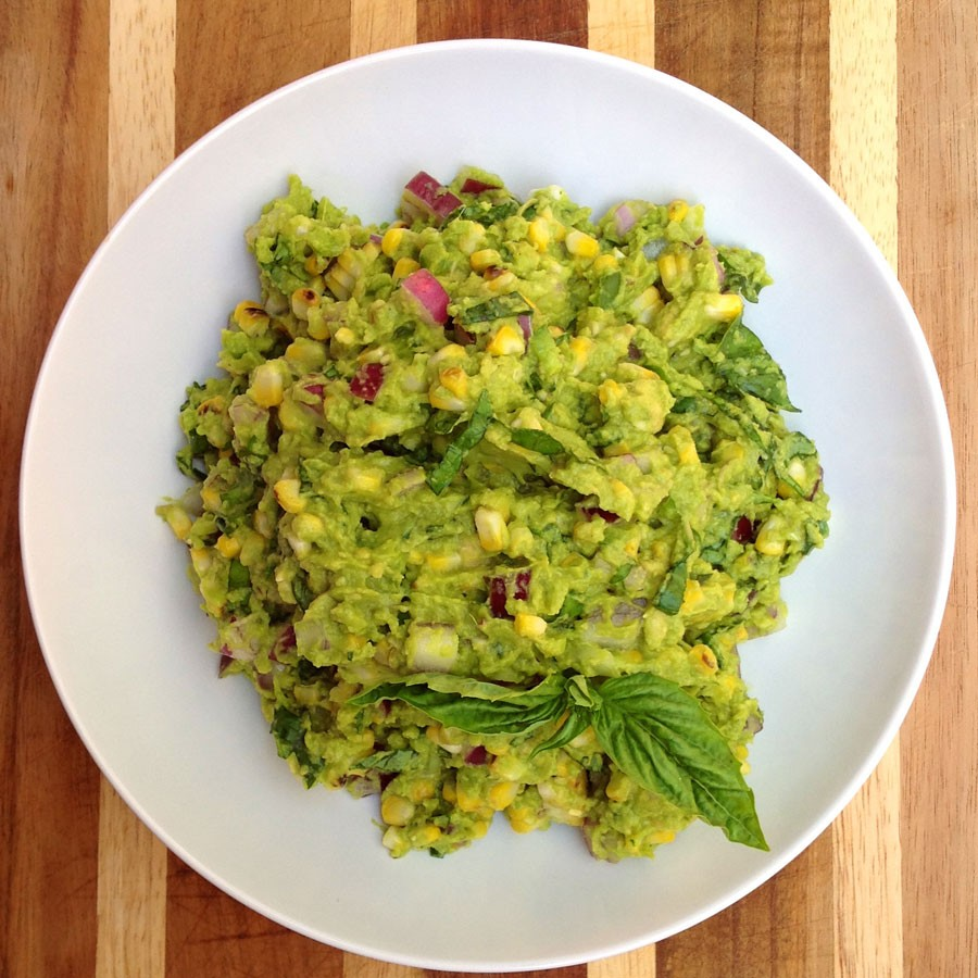 Grilled Guacamole with Grilled Corn and Basil