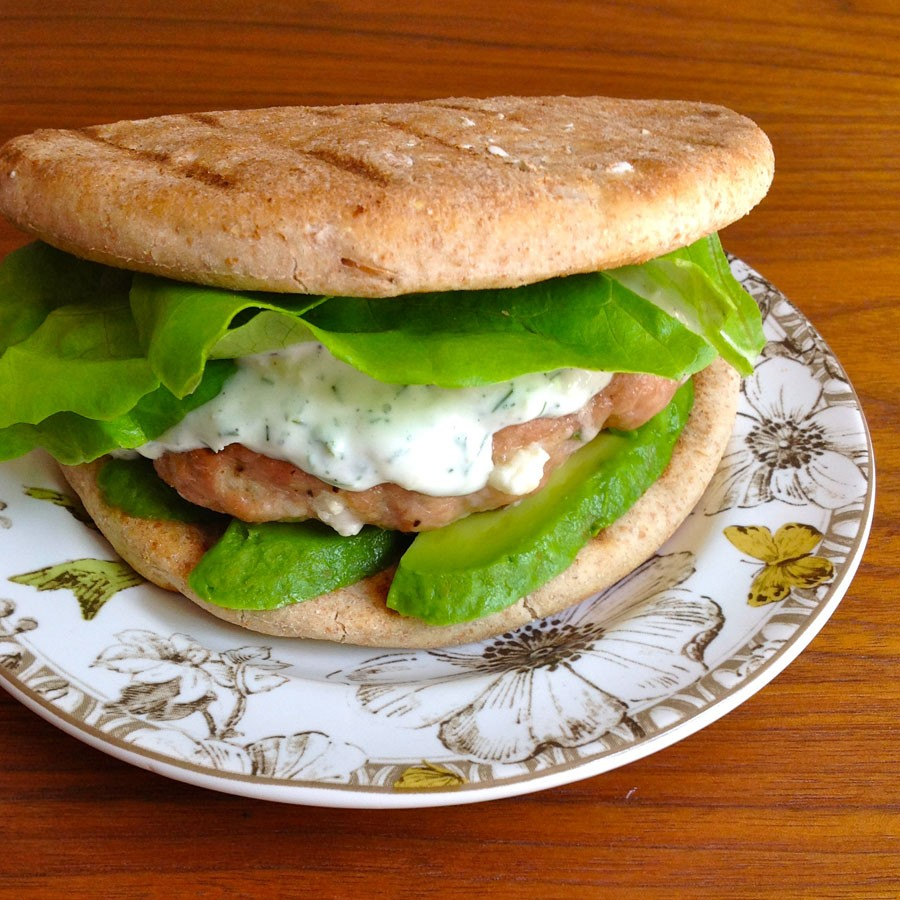 Grilled Turkey Burgers with Tzatziki and Feta