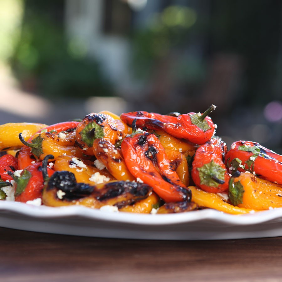 Grilled Baby Peppers with Lemon and Feta
