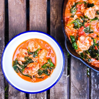 Garlic Shrimp in a Spicy, Creamy Tomato Sauce