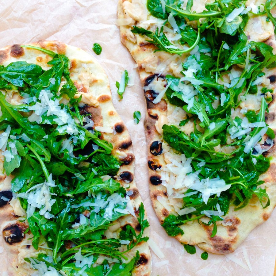 Grilled Flatbreads with Arugula, White Bean and Basil