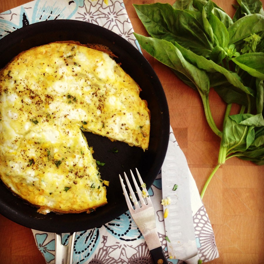 Fresh Sweet Corn, Feta and Basil Frittata