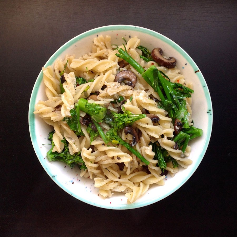 Fusilli with Mushrooms, Broccolini and Capers
