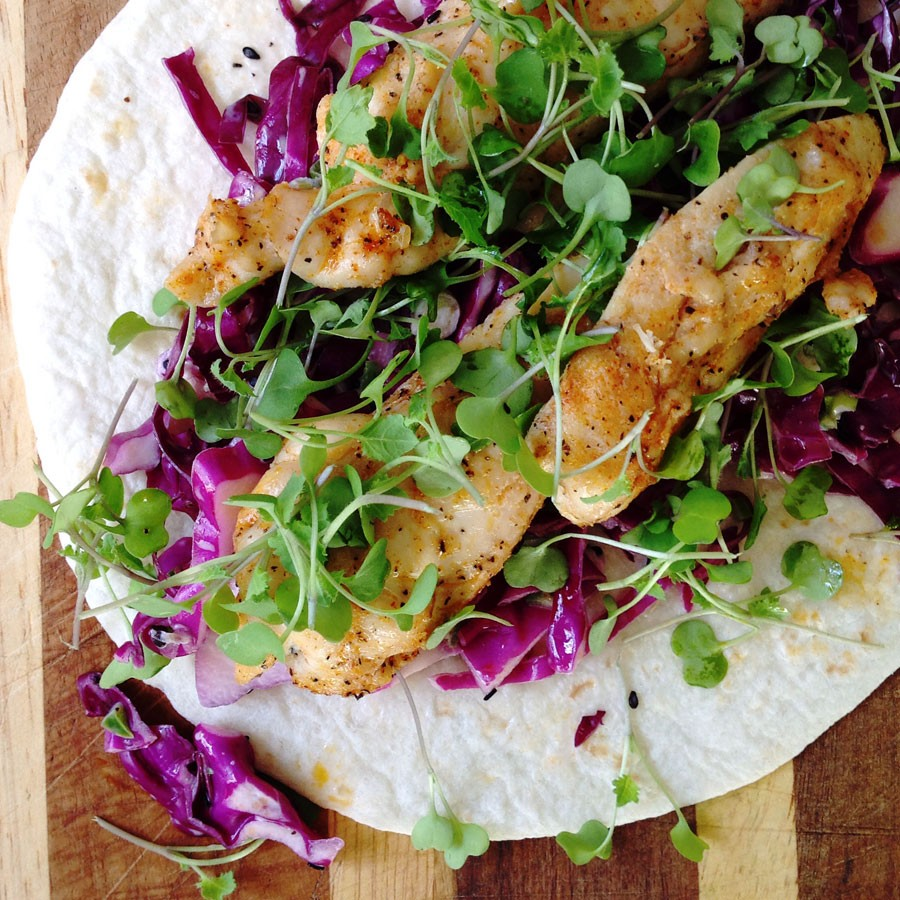 Chicken and Crunchy Red Slaw Wraps