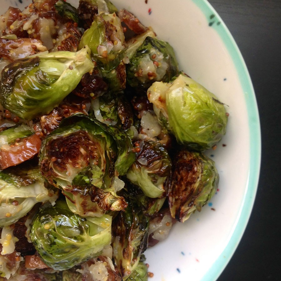 Roasted Brussels Sprouts with Dates and Manchego