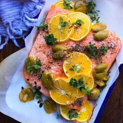 Baked Salmon with Meyer Lemon, Olives and Oregano