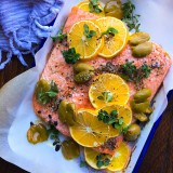 Baked Salmon with Meyer Lemon, Olives and Oregano