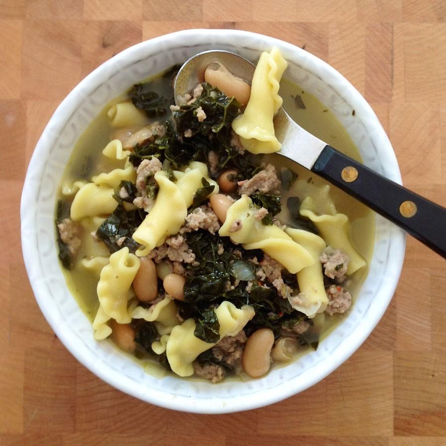 Ground Turkey, Kale and White Bean Soup