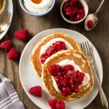 Buttermilk Pancakes with Whipped Ricotta and Raspberries
