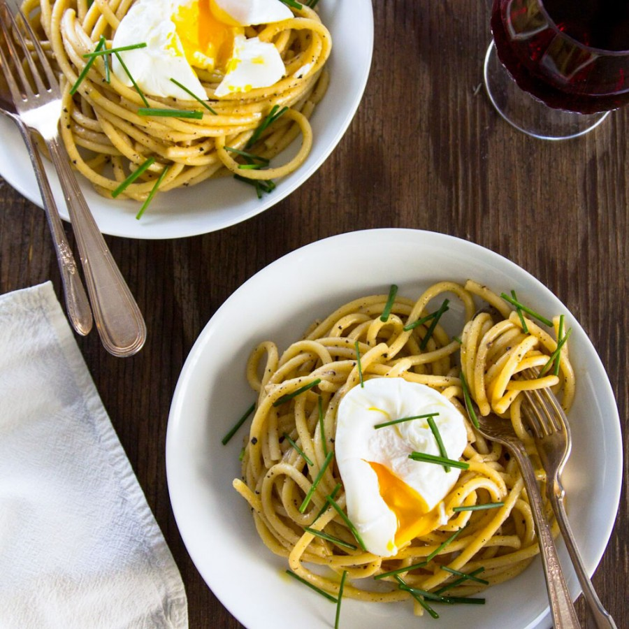 Brown Butter Miso Pasta with a Poached Egg