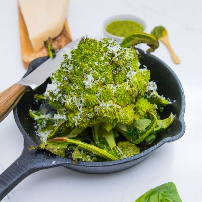 Whole Roasted Romanesco with a Meyer Lemon Herb Sauce