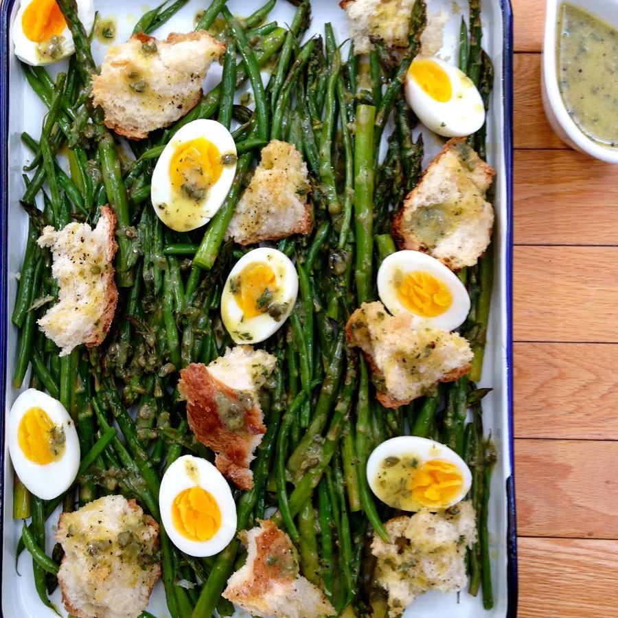 Roasted Asparagus and Green Bean Bread Salad